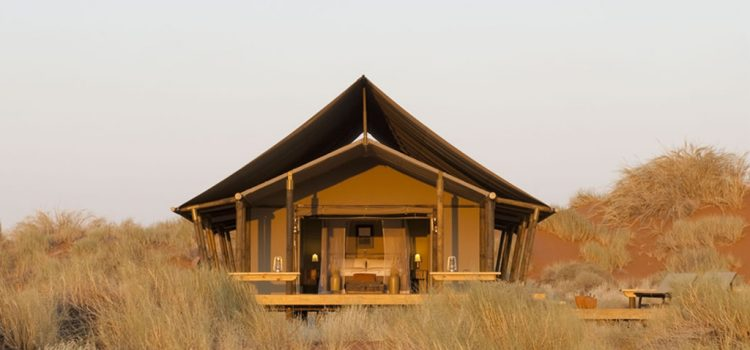 Tent at View into the tent fTent - Wolwedans Dune Camp in Namibia - Southern Destinations