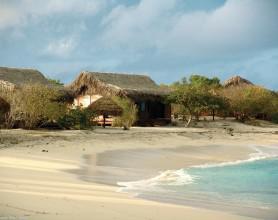 Beach chalet view