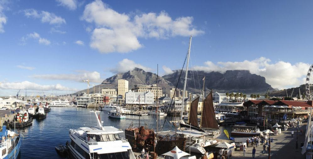 Panoramic of V&A waterfront at Cape Town, South Africa with Tabl