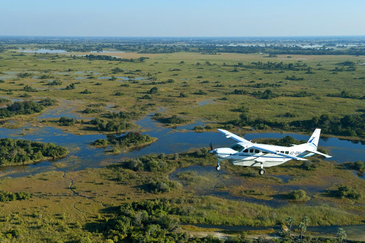 Flying over the Okavango Delta