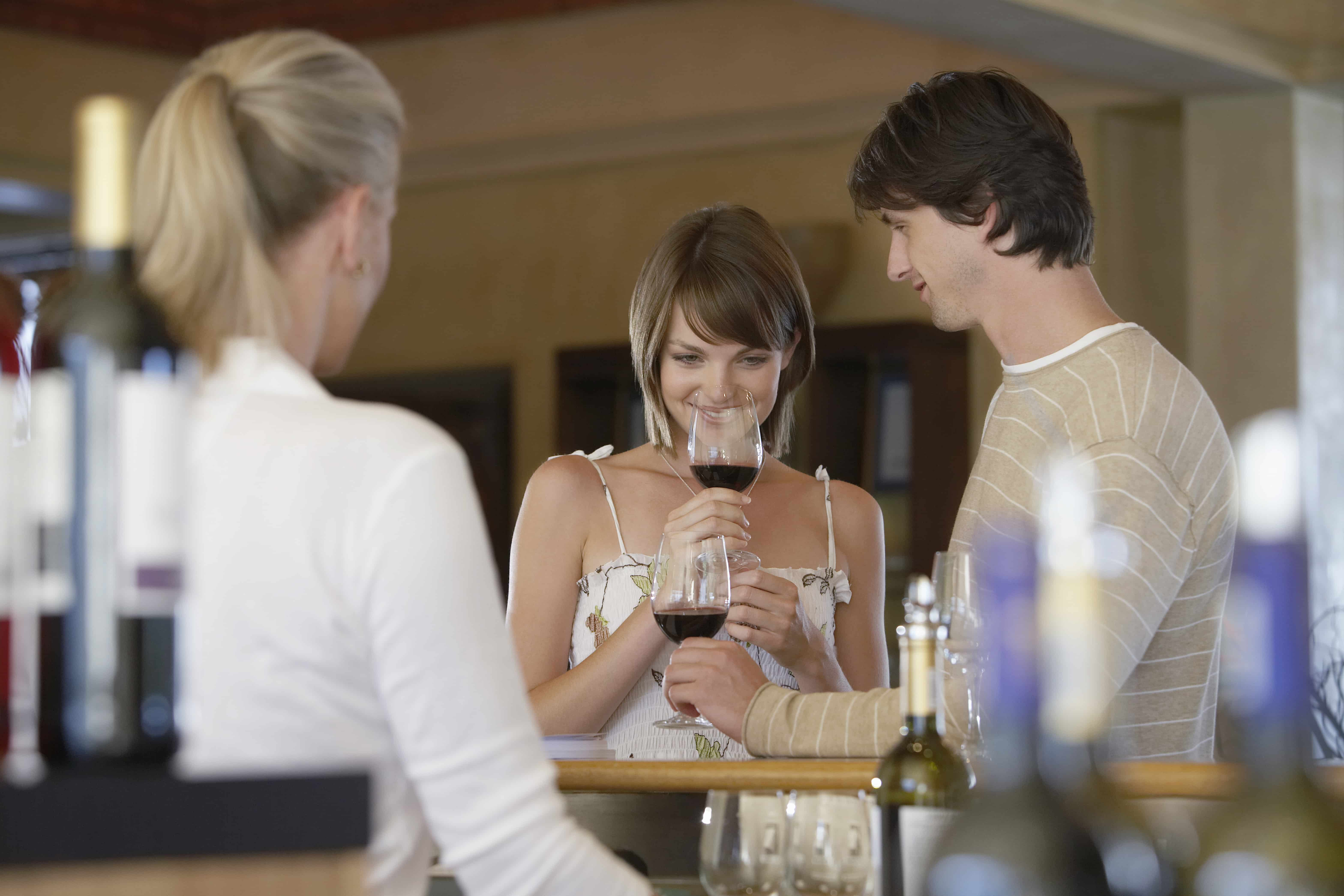 Couple winetasting