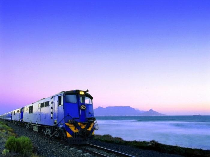 Blue Train with Table Mountain in background