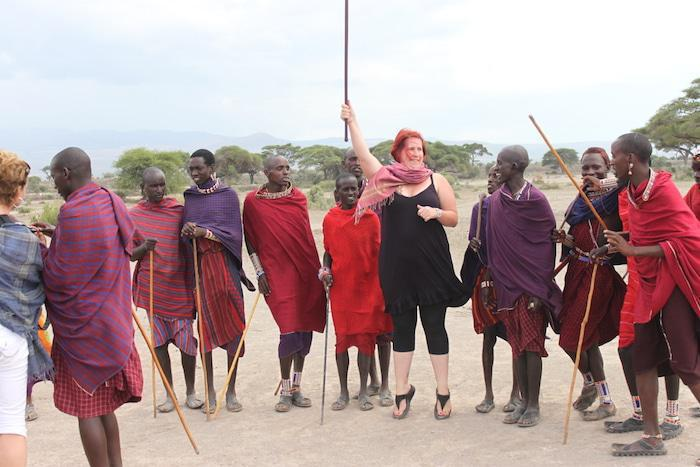 Liesl learning to jump with the Maasai