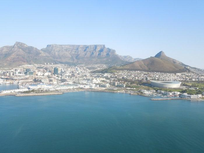 View over Cape Town from helicopter