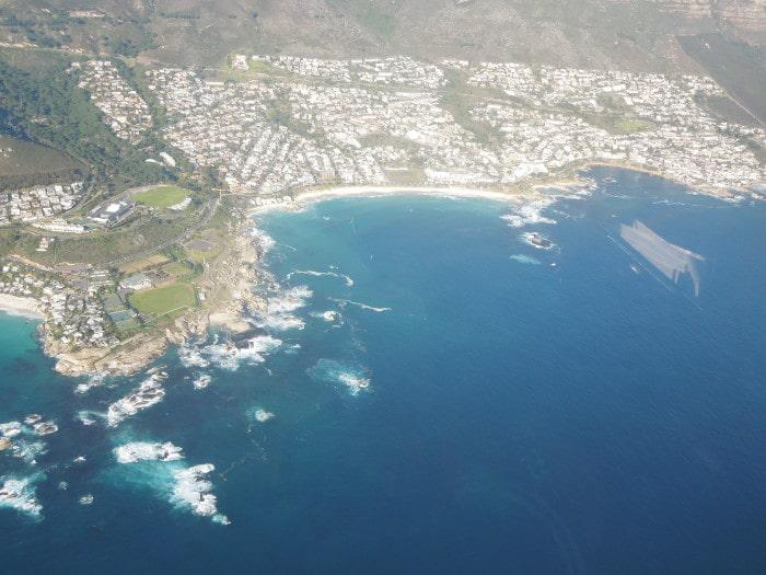 View of Maidens Cove and Camps Bay from helicopter