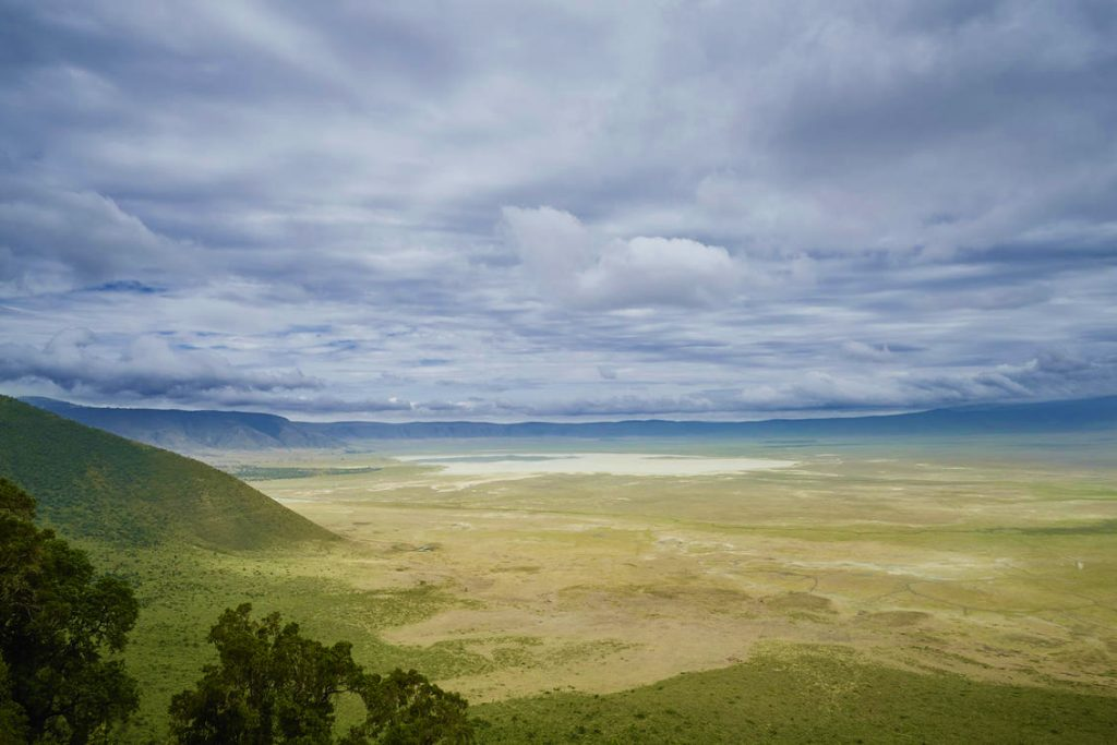 Breathtaking view from on high out across the Ngorongoro Crater in Tanzania