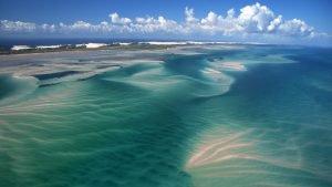 Aerial view of the Bazaruto archipelago in Mozambique. (Photo credit: BBC)