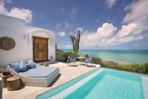 View out over the ocean from the villa's pool at Santorini Mozambique