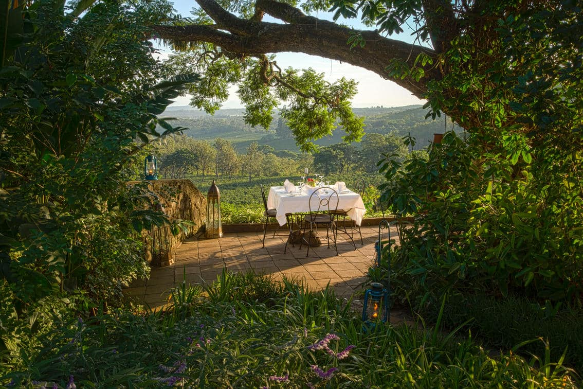 A romantic alfresco breakfast in the old English garden overlooking the Ngorongoro Crater
