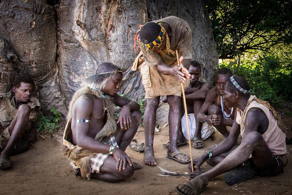 Hadzabe tribesmen demonstrating their traditional ways of life - Ngorongoro Crater, Tanzania