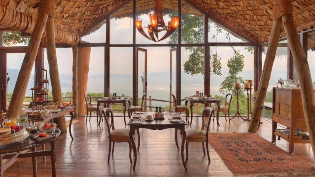 Dining room at sunset with view of Ngorongoro Crater