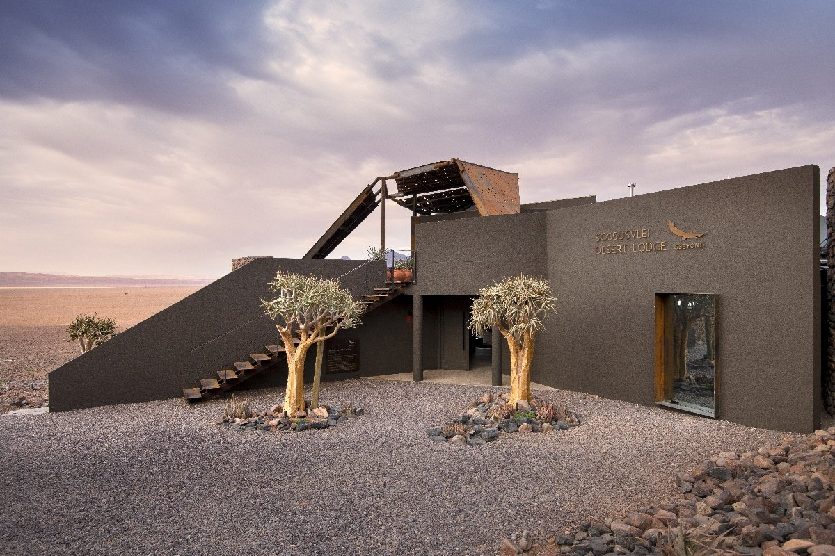 The guest arrival area at &Beyond Sossusvlei Desert Lodge in Namibia