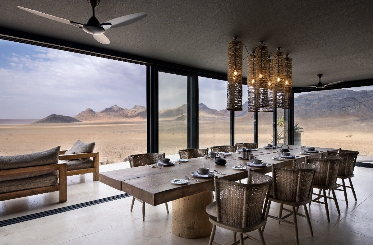 View of the desert from the guest dining area at &Beyond Sossusvlei Desert Lodge in Namibia