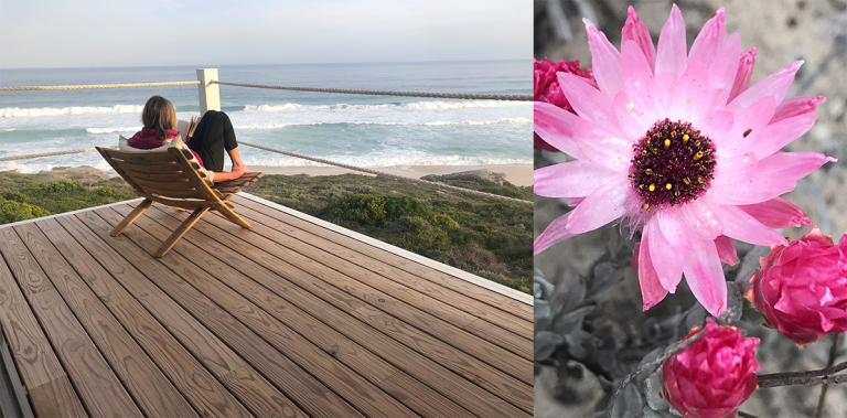 Sitting on the deck at Lekkerwater Beach Lodge and reveling in the wild coastal beauty of the fragrant fynbos and dramatic ocean