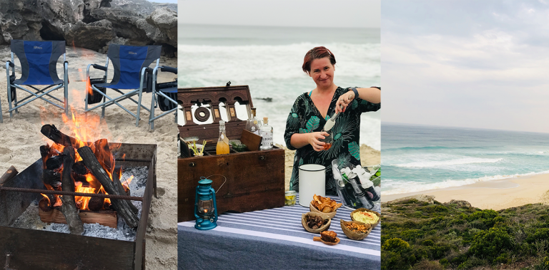 Collage of photos taken during sundowners around a cozy beach fire at Lekkerwater Beach Lodge