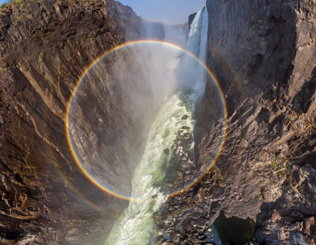 Full circle rainbow captured by a drone in Victoria Falls