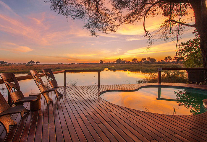 Kwando Lagoon Camp offers guests six immaculate thatched chalets elevated on wooden decks to optimize the stunning views of the floodplains below.