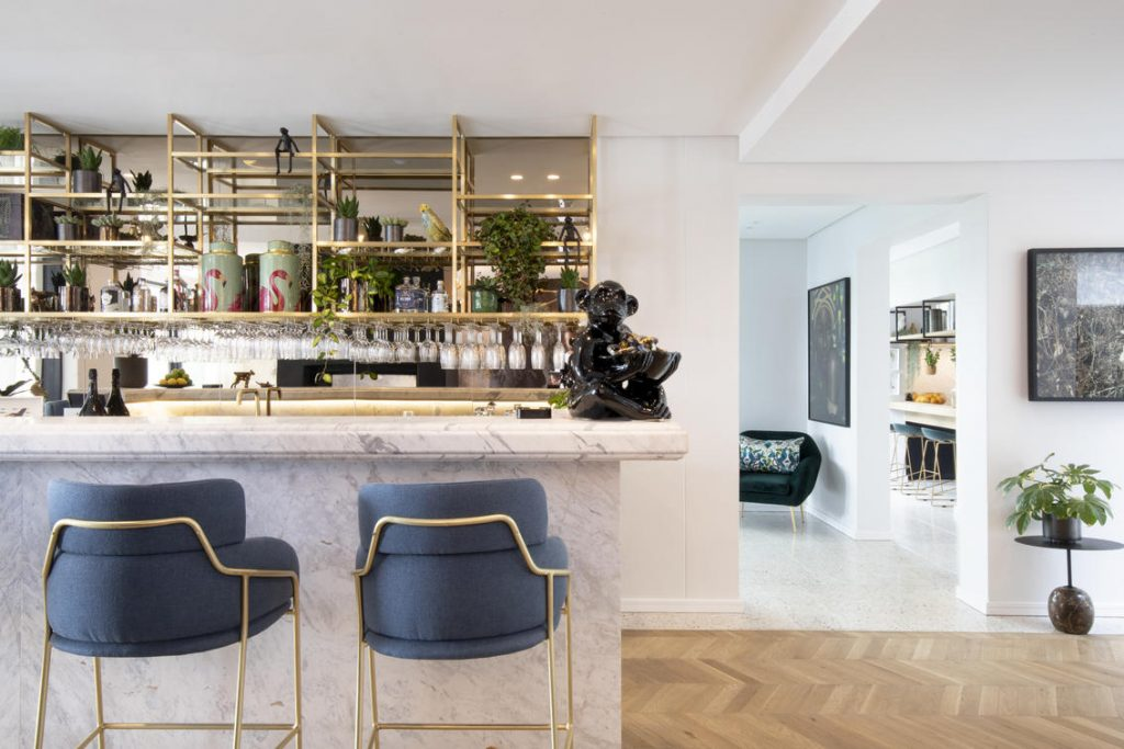 The modern Art Deco-inspired bar at Camissa House in Cape Town