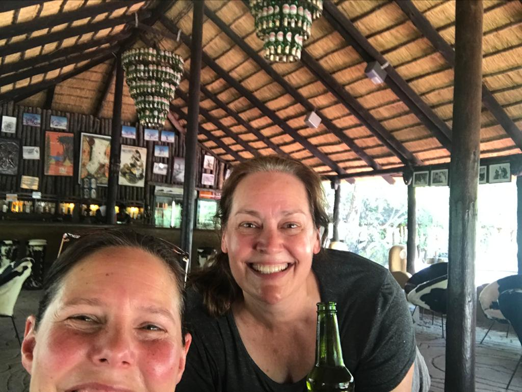 Lise and Crisney in the Okavango Delta in Botswana